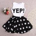 2016 New Baby Girls Clothes Kids Summer Dress Set Sleeveless Vest Top and Polka Dot Skirt 2PCS Outfit Children Set