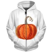 Cloudstyle Fall Men Hoodies Zipper White Sweatshirts 3D Harajuku Tracksuits Pumpkin Printed Funny Hooded Pocket Zip Up Coats 5XL