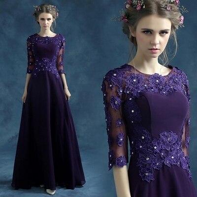 Azul violeta Y negro madre de la novia vestido mae da noiva novias ...