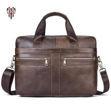 TIANHOO 14 inch laptop briefcase genuine leather man bags litchi pattern bag retro crossbody shoulder & hand men totes