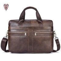 TIANHOO 14 inch laptop briefcase genuine leather man bags litchi pattern bag retro crossbody shoulder & hand bag men totes