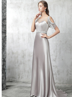 Рукав крылышком с отделкой из бус вечернее платье серебристо серый вечернее платье элегантное платье для выпускного вечера украшенный стр