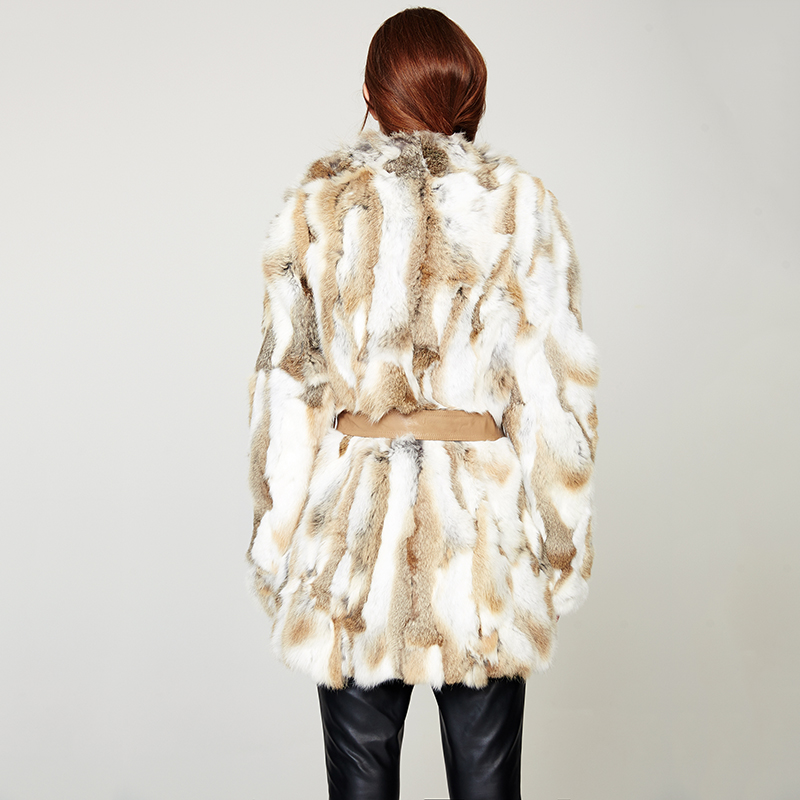 ESCALIER Casual 100% Rabbit Fur Coat Winter Knitted Thick Warm Fur Outwear Pig real leather Belt Long Sleeve Jacket
