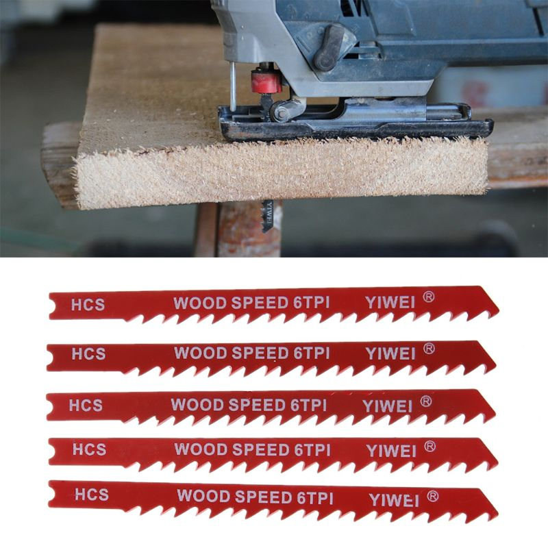 5pcs Durable U-shank High Carbon Steel 6 Tpi Reciprocating Saw Blade Cutter For Wood Jig Cutting Dls8th