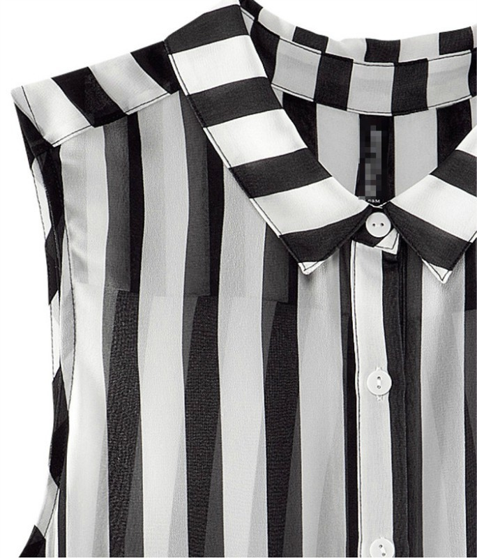 7e9b145956f127 Women s Fashion Style Black and White Vertical Stripes Sleeveless Chiffon Shirt  Blouse-in Blouses   Shirts from Women s Clothing on Aliexpress.com
