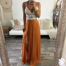 a834514b4f03 Orange Chiffon Full Skirt Personalized Style Zipper Waistline A Line Floor  Length Maxi Skirt Sexy Slit