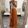 Orange chiffon completa saia estilo personalizado com zíper cintura uma linha até o chão maxi saia sexy fenda saias longas mulheres