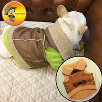 New Arrivals Autumn Winter French Bulldog Jeans Vest Vests For Pet PU Jacket Dog Clothes Puppy