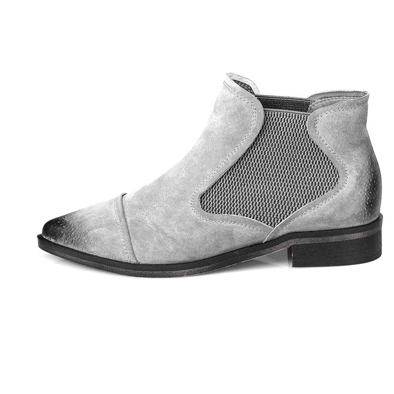 ФОТО Super Elegant Women Ankle Boots Pointed Toe Square Heels Boots High-quality Black Yellow Gray Shoes Woman US Size 4-10.5