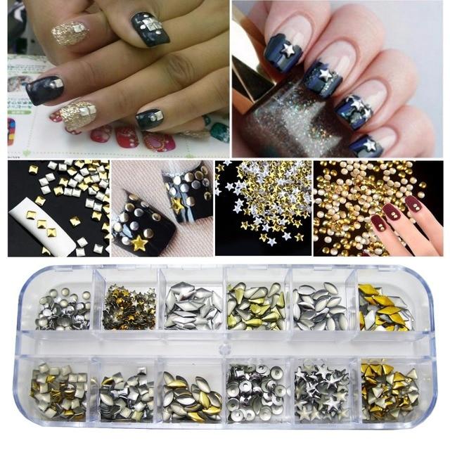 Rectangular Box Shiny Gold Silver 3D Nails Rivet Tips Glitter Nail ...