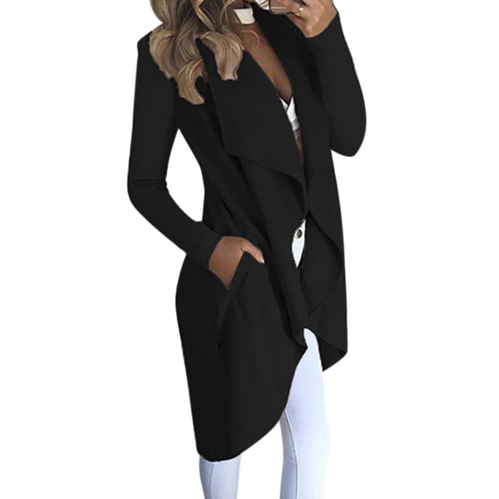 MISSKY Neue Frauen Graben Revers Kragen Einfarbig Langarm Slim Fit Wind Mantel mit Taschen Für Frühling Herbst