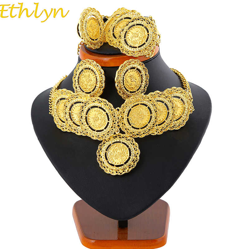 Ethlyn Jewelry Gold Color Turkey Coin Jewelry Sets Luxury Choker Sets Turkey Coins Arab Gifts Turks Africa Party Jewelry 162