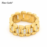 2016 Luxury Stainless Steel 24K Gold Plated Ice Out Lab Diamond Cut Ring Hiphop Mens Watchband