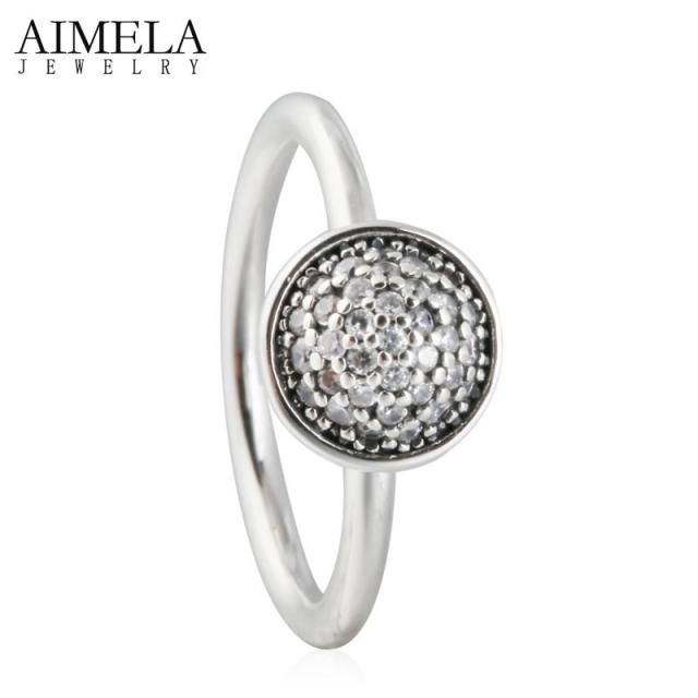 AIMELA Clear CZ Diamond Pave Dazzling Big Water Droplet Rings 925-Sterling-Silver AAA Zircon Pave Wedding Rings For Women