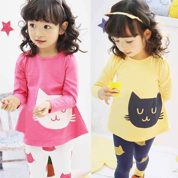 Girls Kids Cats Long Sleeve T-shirt Leggings Pants Autumn Suits Outfits Clothing Set