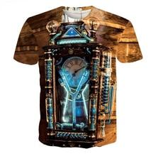 Short Sleeve T-Shirt Men Marcas Brand Cloth Print Tee Steampunk Rave Retro Magic Clock Camisetas Hombre T Shirt Homme