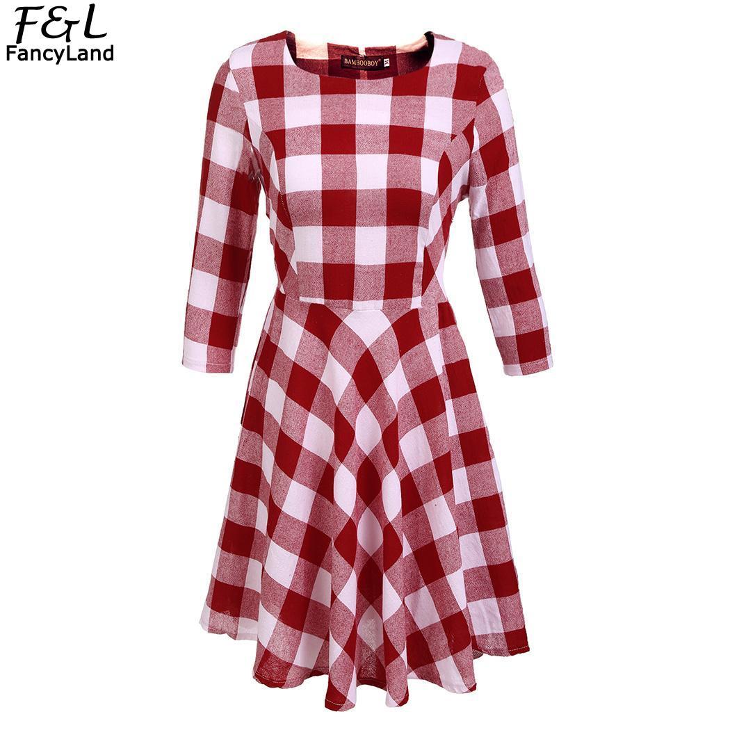 Women Dress 2018 Autumn Dress Vestidos Casual Plaid 3/4 Sleeve Round Neck Checks A-Line Party Dresses