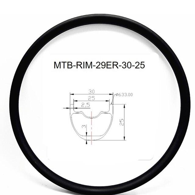 Graphene 29er carbon mtb rims disc tubeless hookless 30x25mm Inner width 25mm carbon rim mtb disc bicycle rims XC 380g