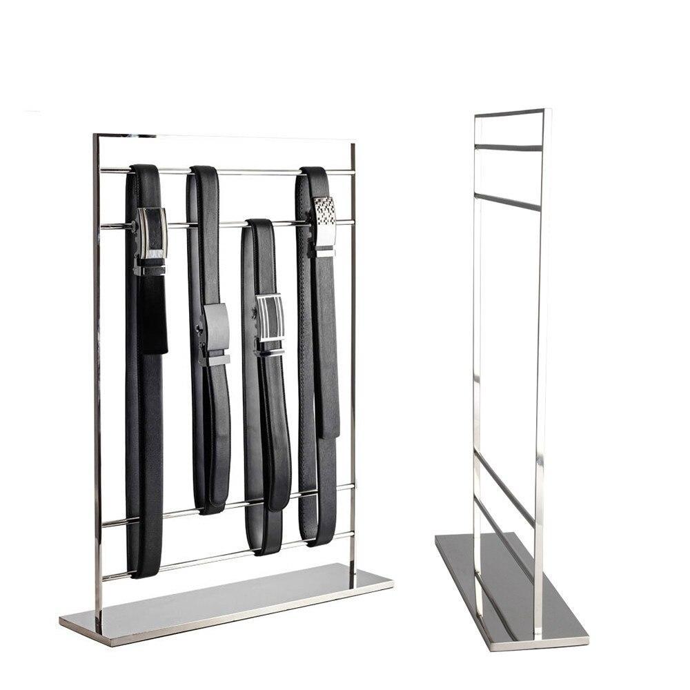 Présentoirs de ceinture en acier inoxydable haut de gamme comptoir Vertical présentoir de ceinture cadre étagère de ceinture présentoir pour magasin support de ceinture