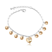 2015 New Indian Anklet Crystal Heart Pendants Made With Swarovski Elements Women Foot Jewelry