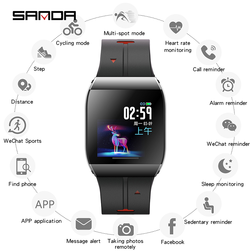 SANDA X1 HD Large Display Elder Men Life Assistant New Smart Digital Watch Female Reminder Heart Rate Watches Step Wristwatch