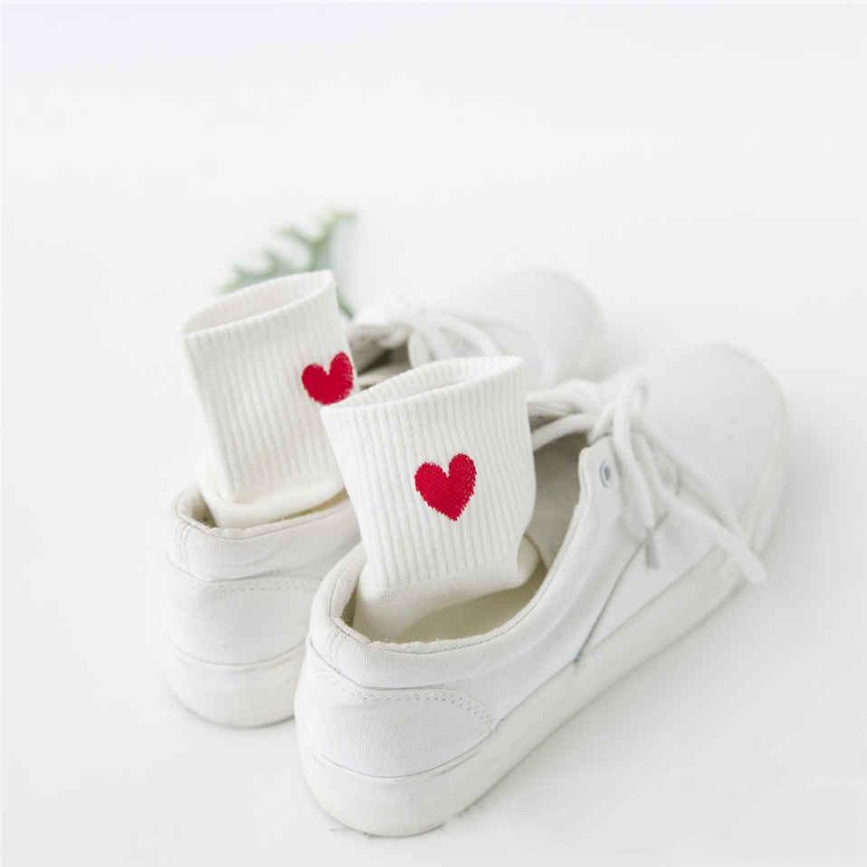 Women Sock Embroidery Love Heart Sox Korean Harajuku Fashion Funny Calcetines Mujer AMozae Cotton Student Classic Sokken Femmel