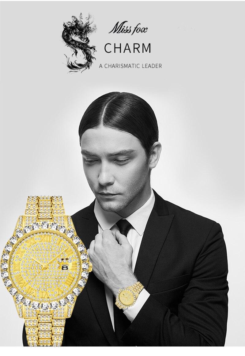 de luxo ouro masculino moda relógios masculino