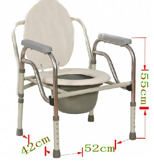 Folding Handicapped Bath Chair Disabled Toilet Potty Chair Height-Adjustable Elderly Seat Commode Chair