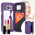 Espelho de maquiagem de luxo rígido pc caso telefone flip capa para iphone 7 7 mais 6 6 s plus para samsung galaxy s7 s7 edge cartão cobrir titular