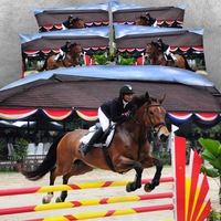 Goldeny Brand 3 Parts Per Set 'Equestrian Theme Show Jumping Horse and Rider 3d Hd digital Bedding set 3D Bed Sheet Set