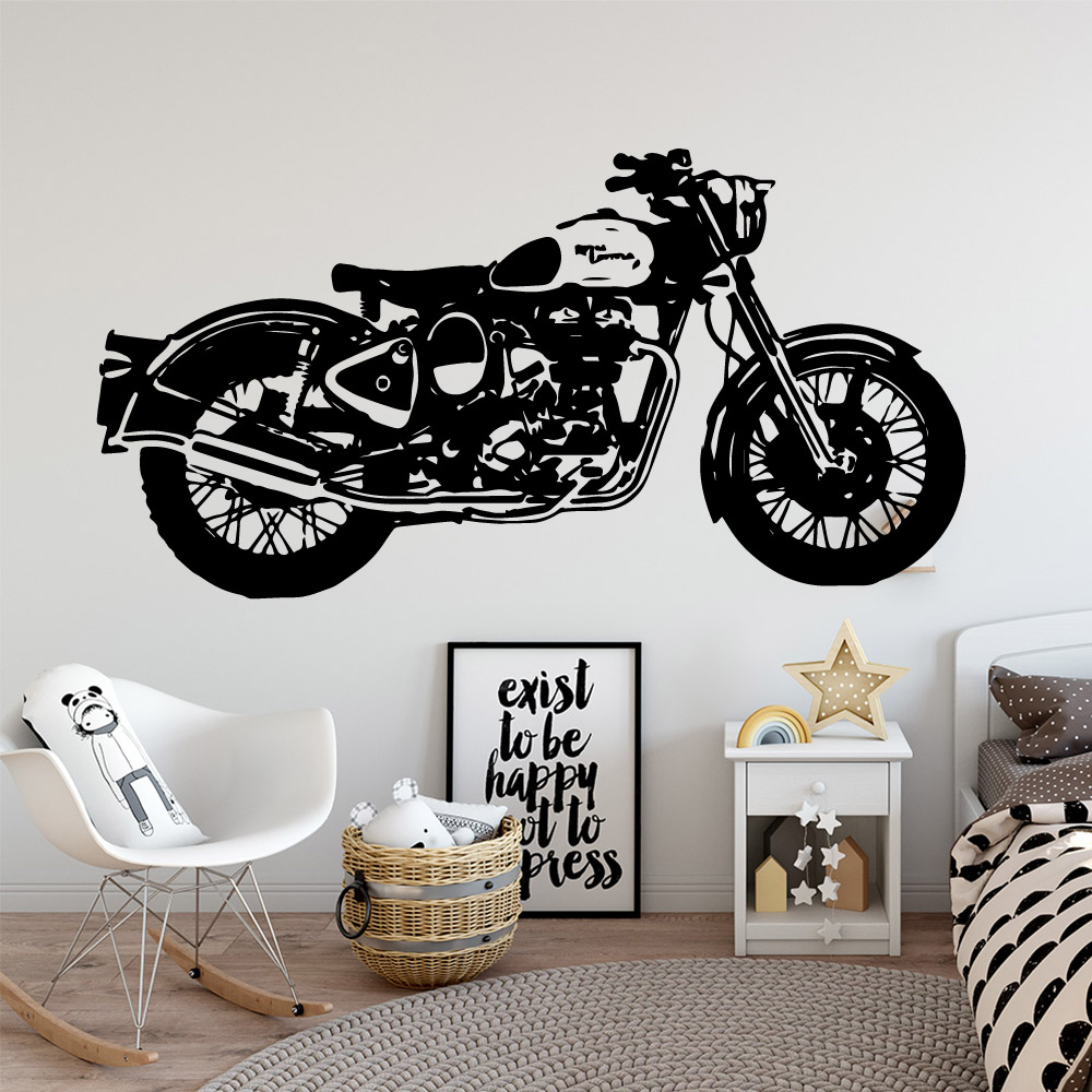 Funny motorcycle Vinyl Wallpaper Roll Furniture Decorative For Baby Kids Rooms Decor Wall Decal Home