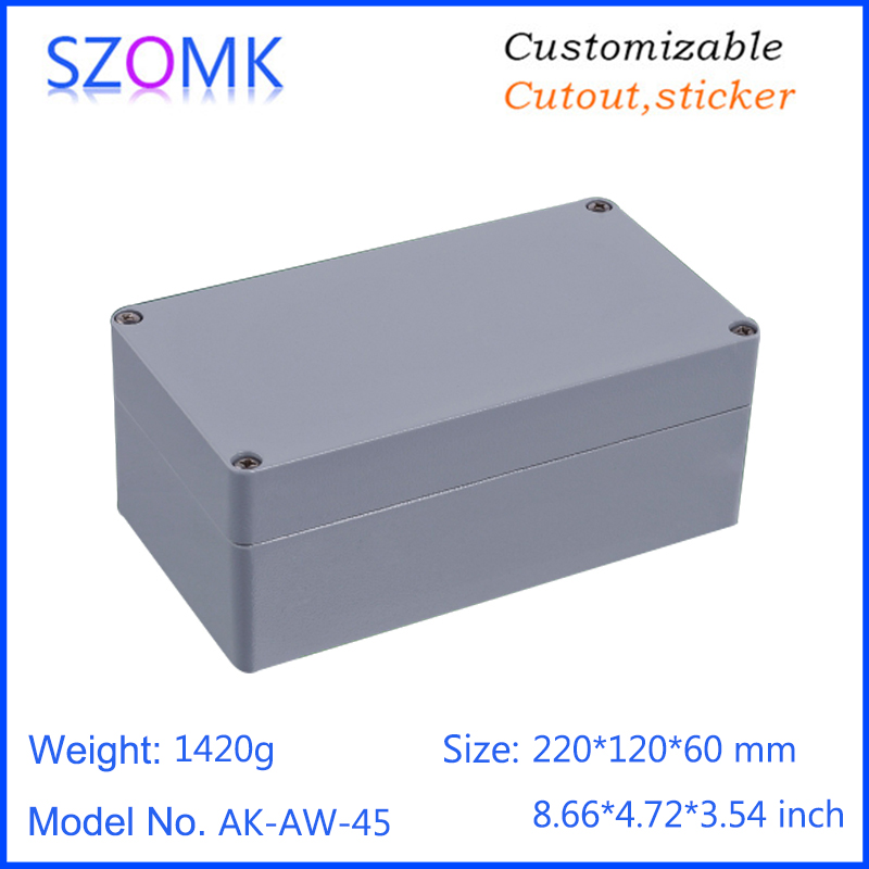 1 piece, 220*120*60mm die cast aluminum waterproof box IP66 electronics amplifier enclosure project box szomk housing case