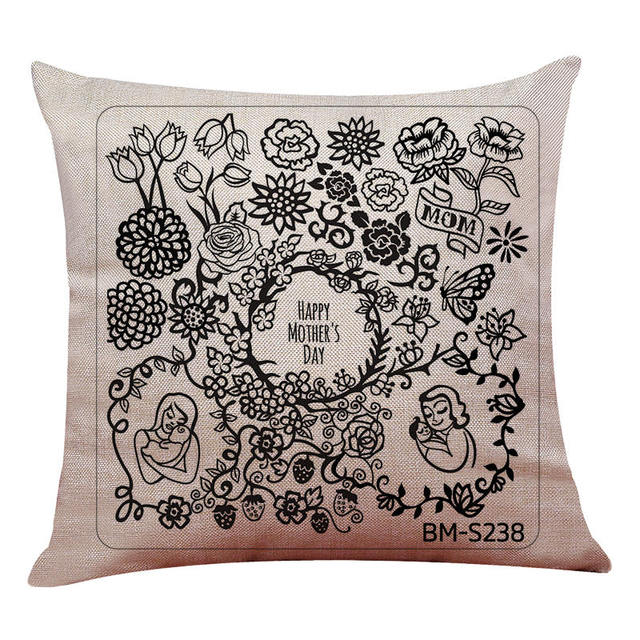 45cm 45cm Happy Mother S Day Black Style Pattern Linen Cotton Throw Pillow Covers Couch Cushion Covers Home Decorative Pillow Cotton Throw Pillows Couch Cushionscushion Cover Aliexpress