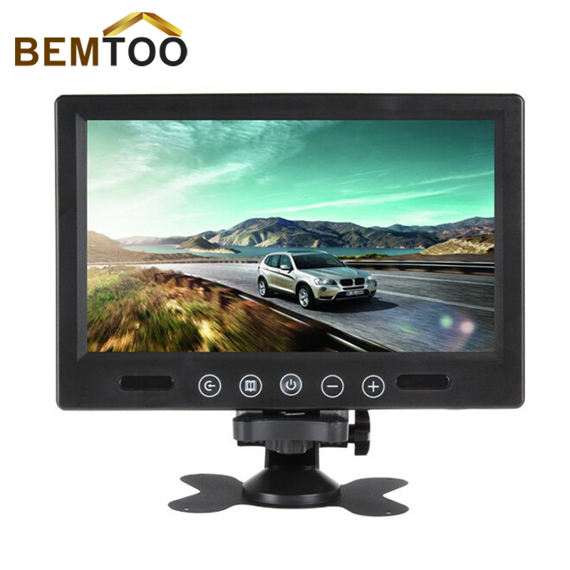 BEMTOO 7 TFT LCD Color 800 x 480 Car Monitor 7 Inch Screen With Widescreen Remote Support 4CH Video Input For Rear View Camera 7 inch monitor tft lcd 800 480 color 16 9 screen 2 way av video input for rear view backup reverse camera dvd vcd dc 12v
