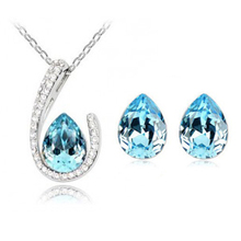 Crystal suit fashion jewelry crystal drops necklace + earrings