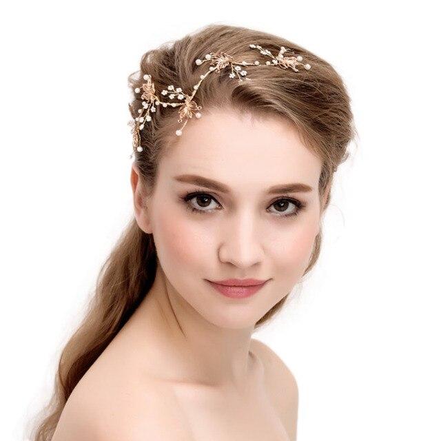Kurze Gold Blume Kristall Perlen Hochzeit Haar Reben Stirnband Braut