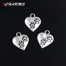 XCHARMS 10pcs/lot Charms Dogs Paw Prints Heart 15*18mm Antique Making Pendant fit Vintage Tibetan Silver DIY Bracelet Necklace