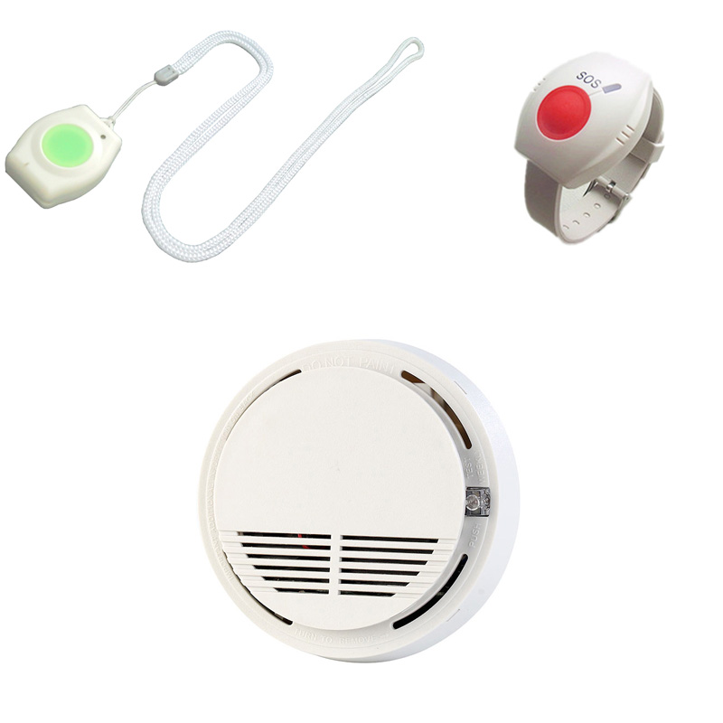 Panic Button Alarm GSM SOS Button Wireless 433MHz For Elderly Smoke Detector Sensor Fire Alarm Photoelectric Smart Home System mini gsm gps tracker for kids elderly personal sos button track with two way communication free platform app alarm