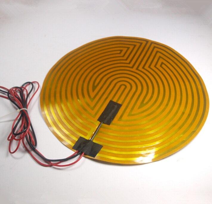Funssor Round 12V 120W 330mm Kapton Heatbed Heater + Thermistor for DIY RepRap Kossel RAMP3D printer funssor 220v 450mm diameter round polyimide heater bed heater with adhesive tape for diy kossel 3d printer
