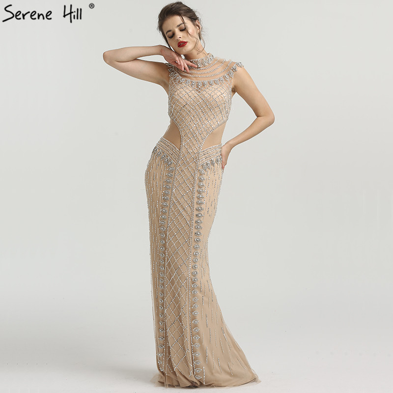3dcc68ccbb2 Mouse over to zoom in. New Fashion High Collar Sexy Evening Dresses 2019  Sleeveless Luxury Formal Evening Gowns Serene Hill LA6551 ...