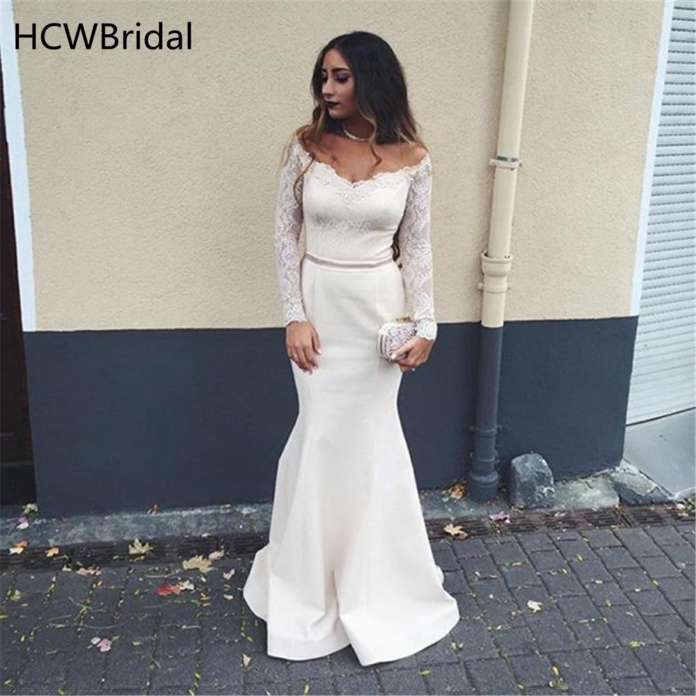 Discount Designer Dresses Cocktail: Simple White Mermaid Long Sleeve Evening Dress Elastic