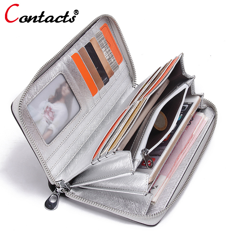 CONTACT'S Genuine Leather women Wallet Female Purse phone women wallet designer candy color clutch coins Card Holder money bag female wallet women purse cute anime cat wallet moman long wallet zipper tassel designer sweet bag for phone card coins holder