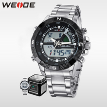 WEIDE luxury Brand Waterproof Military Sport Men's Boy LCD Analog Digital Wrist Watches with Stopwatch Date Alarm Gifts for Men все цены
