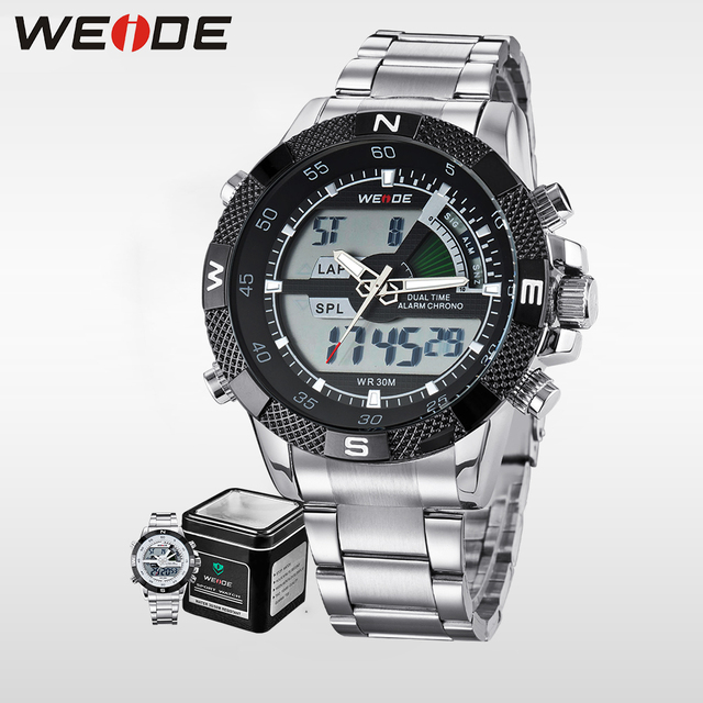 fcb489f851 US $22.17 34% OFF|WEIDE luxury Brand Waterproof Military Sport Men's Boy  LCD Analog Digital Wrist Watches with Stopwatch Date Alarm Gifts for Men-in  ...