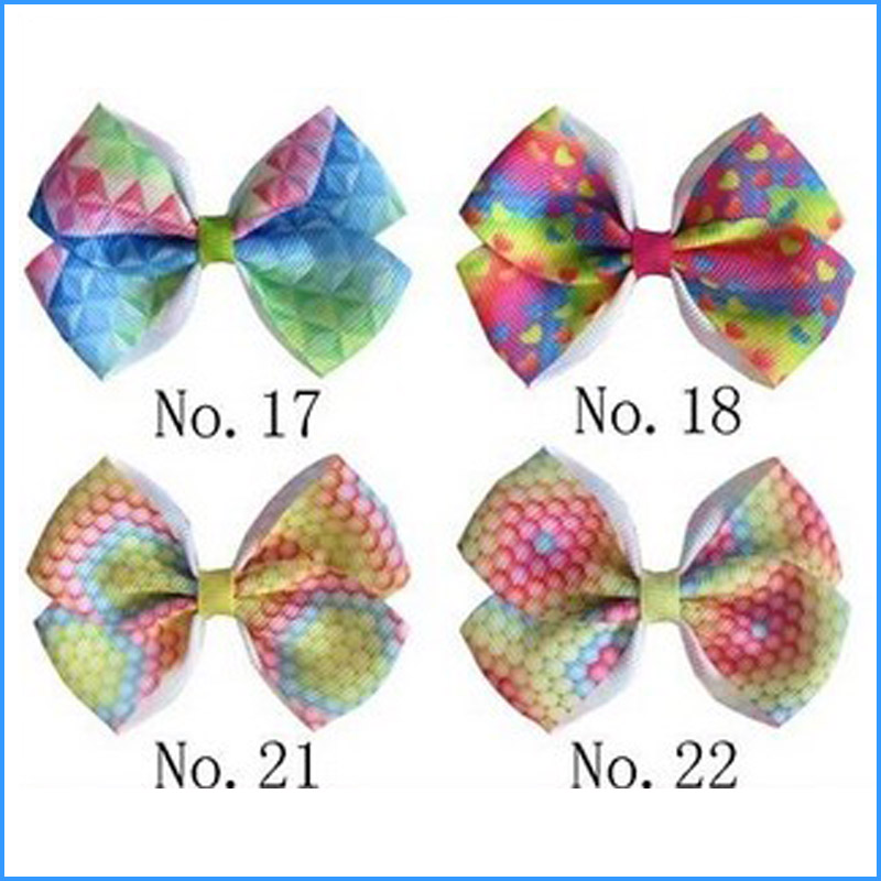 """50 BLESSING Good Girl Boutique 3.5/"""" ABC Hair Bow Clip Clover Diamond Rainbow"""