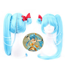 Hatsune Miku hair jewelry 430g 100cm synthetic straight hair accessories extension for cosplay wigs
