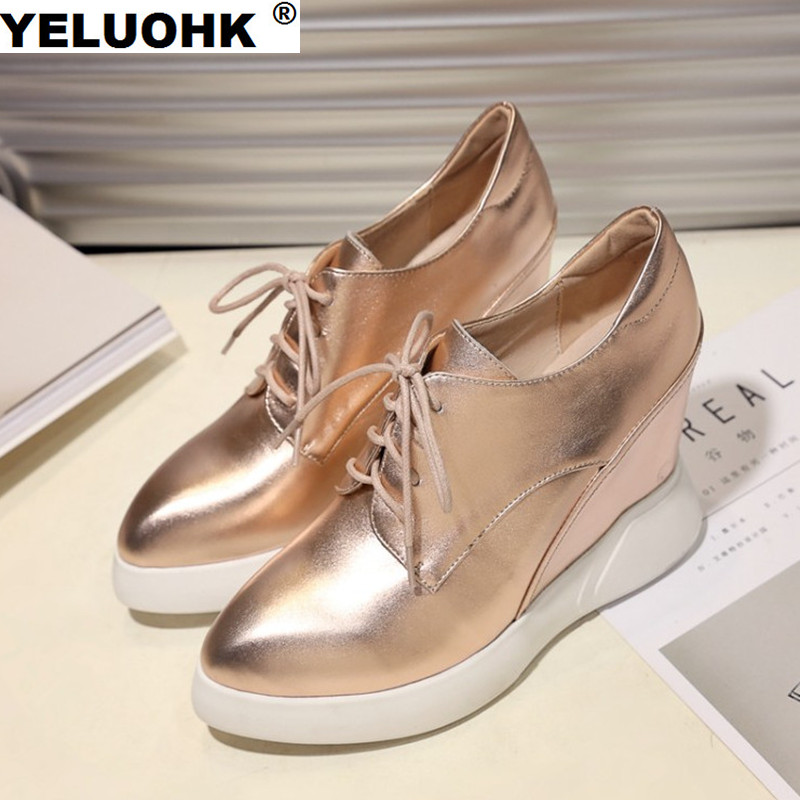 Plus Size Pointed Toe Wedge Shoes Women High Heels Casual Genuine Leather Shoes Women Pumps Fashion Women Shoes 2017 new 2017 spring summer women shoes pointed toe high quality brand fashion womens flats ladies plus size 41 sweet flock t179