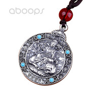 Black 999 Sterling Silver Buddha Round Tag Pendant Necklace for Men Women Free Shipping