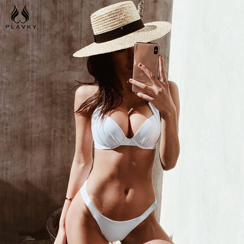 Sexy Halter White Brazilian Super Push Up Bikini Set 2019 Ladies Swimwear Women Swimsuit Female Thong Swim Bathing Suit Biquini