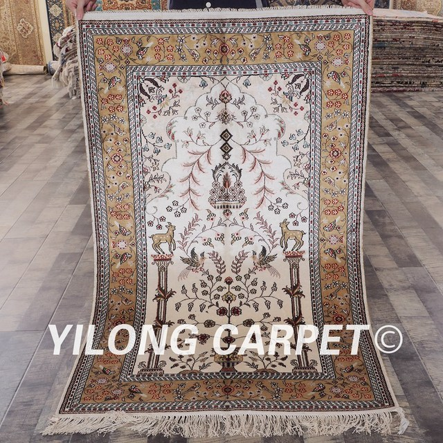 Yilong 3 X5 Handknotted White And Yellow Silk Handmade Persian Rug Yhw340b3x5